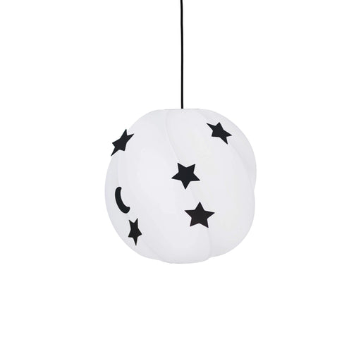 White loft lamp hanging from a black wire, the lamp is decorated with five black stars and a black moon.