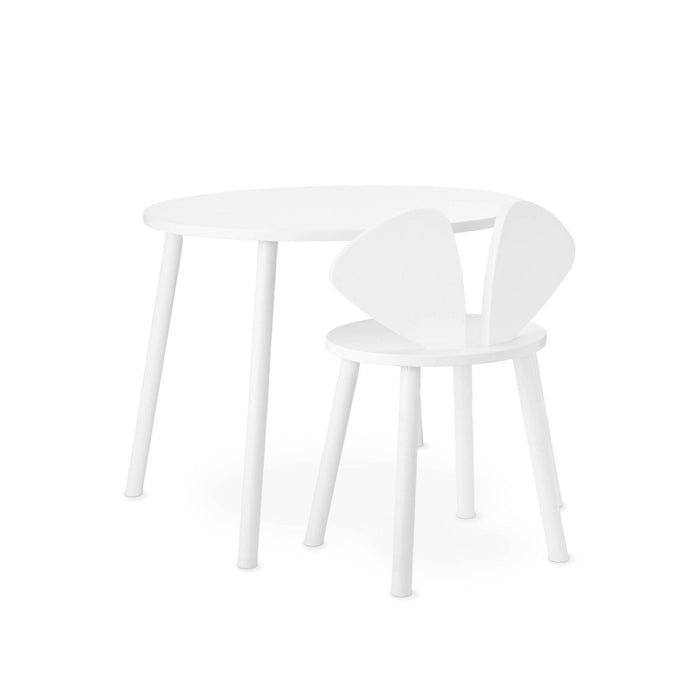 Table and chair desk set in white wood