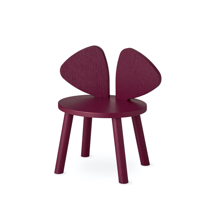 Small burgundy chair, for kids at the age of 2, 3, 4 or 5 years, backrest shaped as big mouse ears