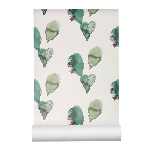 Kids wallpaper with ladybirds on green leaves