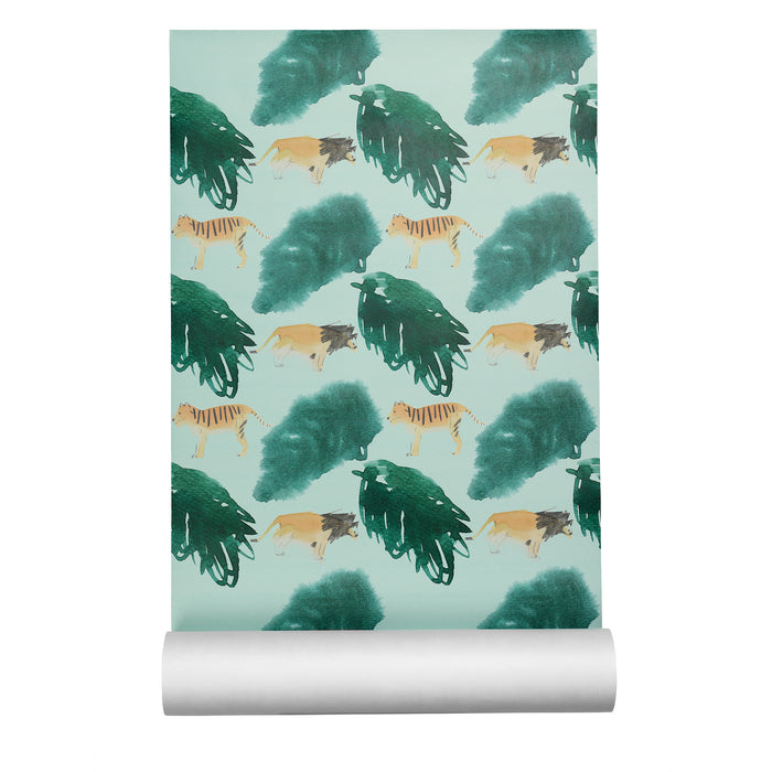 Wallpaper with tigers, lions and green jungle plants
