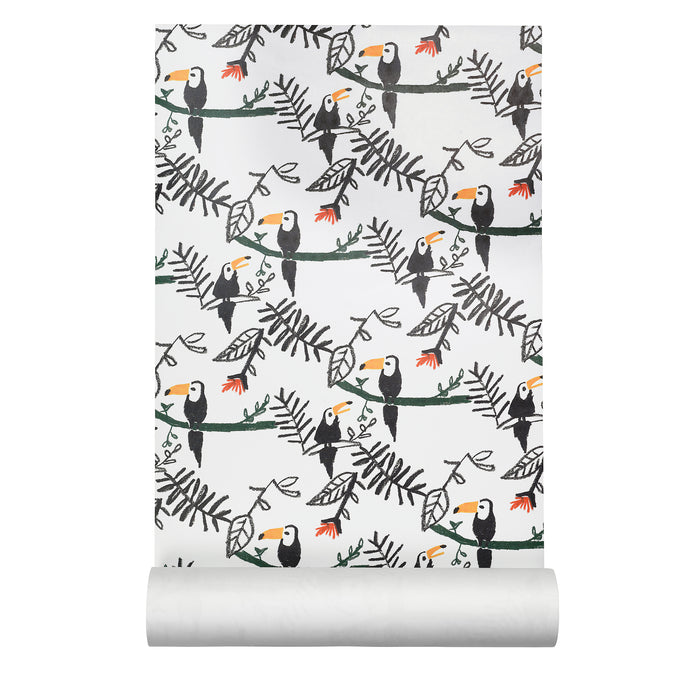 Wallpaper with printed toucans sitting on branches