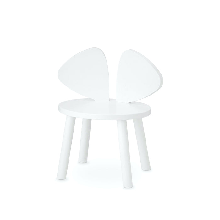 White kids chair with backrest shaped as mouse ears, seat height is 26,5 cm
