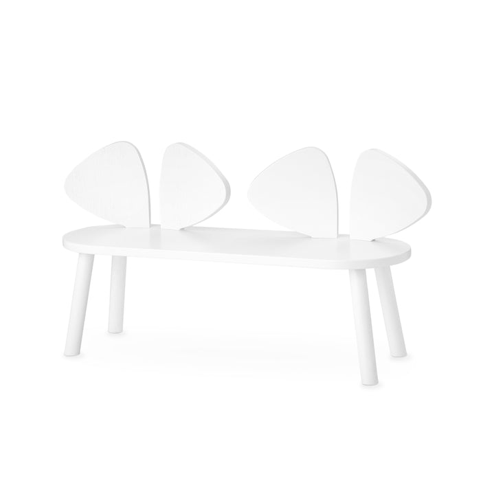 White kids bench with backrest shaped as mouse ears