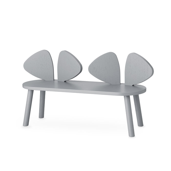 Grey wooden bench with backrest that looks like two pairs of giant mouse ears