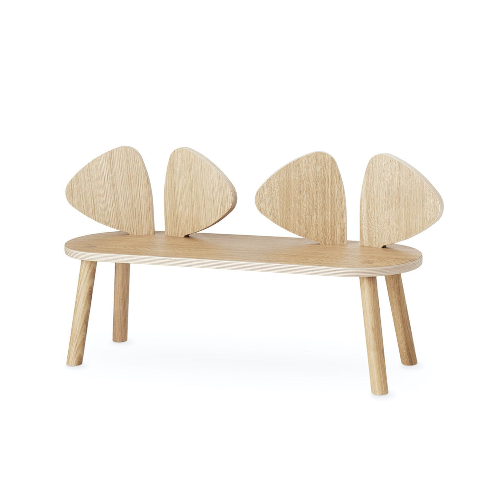 Wooden bench with backrest shaped as two pairs of mouse ears