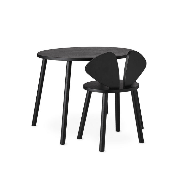 Black desk set chair and table in wood