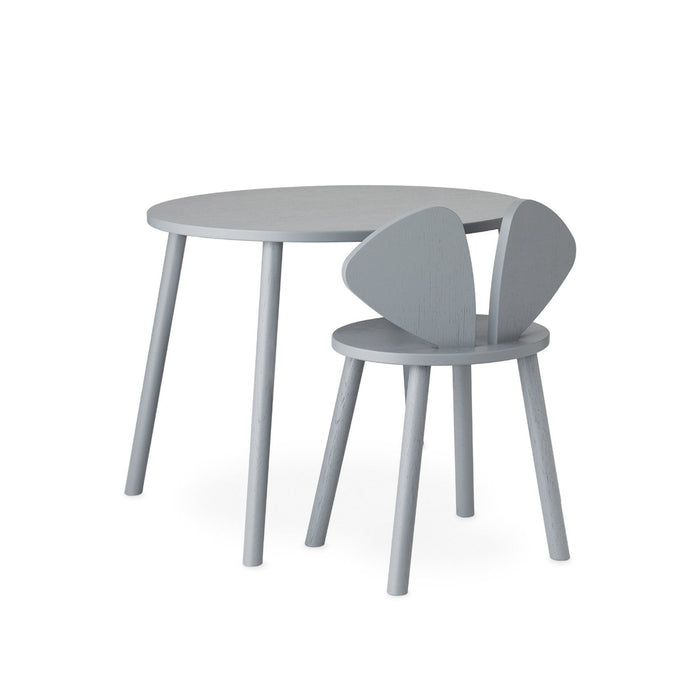 Grey wooden desk set chair and table, table height of 58 cm, seat height 40 cm