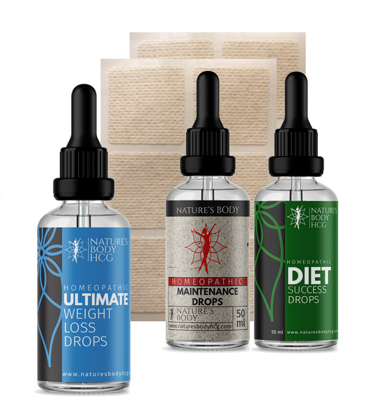 ULTIMATE HCG - 26 Day Supercharge Kit - Drops & Patches COMBO + Maintenance & Diet Success