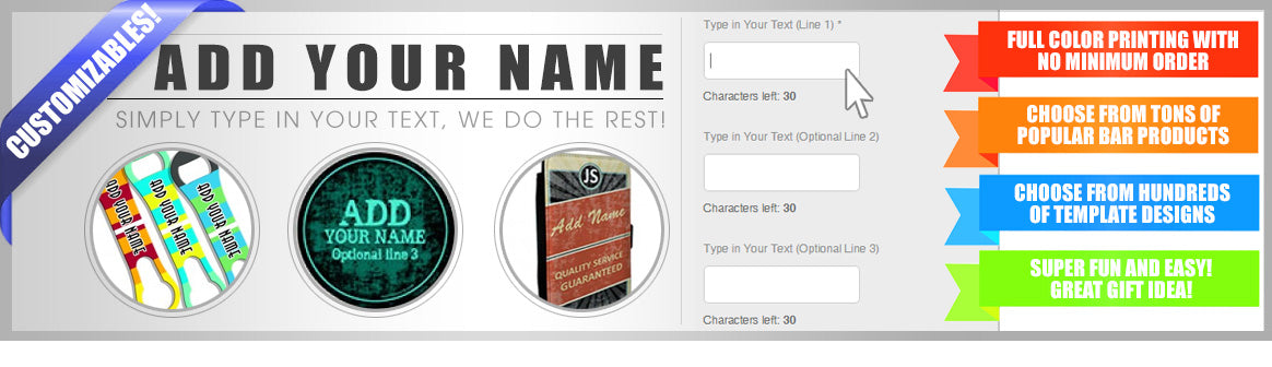 Add your name bar products