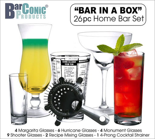 "BarConic® ""Bar in a Box"" – 26 Piece Home Bar Set"