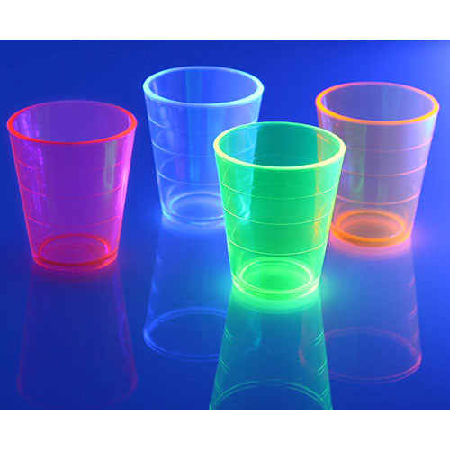 Barconic® 2oz Thick Assorted Plastic Shot Glass - Under Blacklight