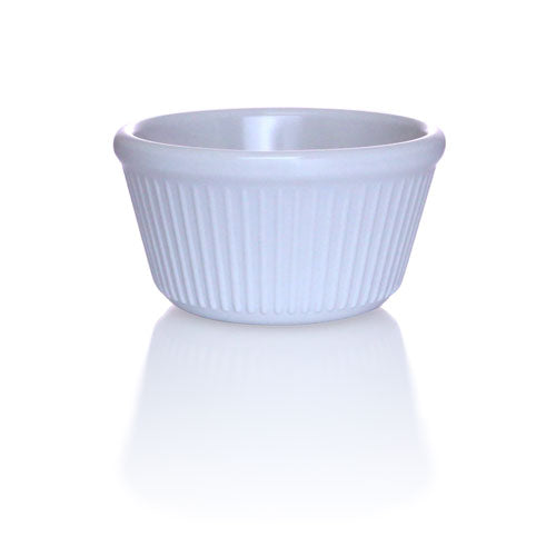White - 3 oz. Fluted Melamine Ramekin - 12/pack