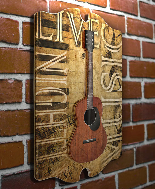 3D Wooden Guitar Tavern Sign - Live Music Nightly