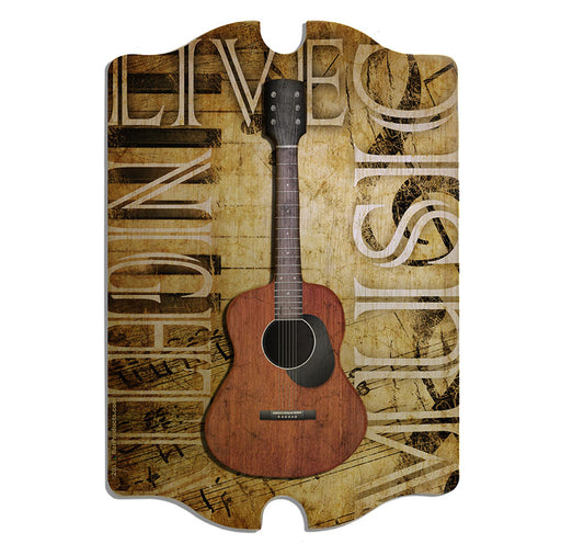 3D Wooden Guitar Tavern Sign - Live Music Nightly - Front view