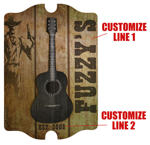 3D Wooden Guitar Tavern Sign - Country Theme