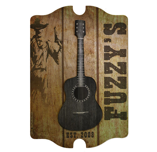 CUSTOMIZABLE 3D Wooden Guitar Tavern Sign - Country Theme - FRONT