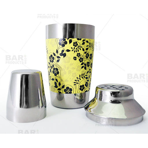 Designer 16oz. Cocktail Shaker - 3 Piece - Yellow Floral