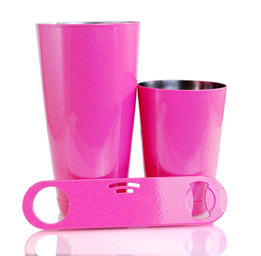 3 Piece Pink Glitter Bar Set with StrainBlade® Bottle Opener