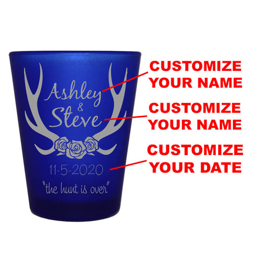 CUSTOMIZABLE - 1.5oz Blue Frosted Shot Glass - Antlers