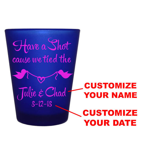 CUSTOMIZABLE - 1.5oz Blue Frosted Shot Glass - Bird Knot