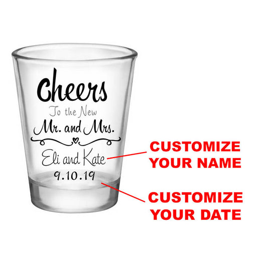 CUSTOMIZABLE - 1.75oz Clear Wedding Shot Glass - Cheers