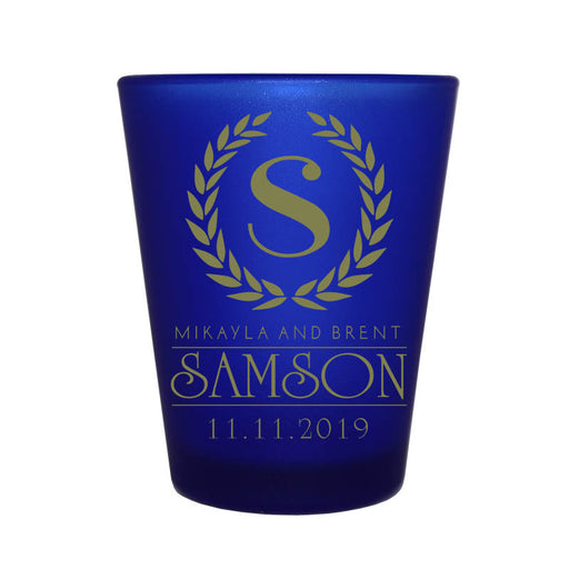 CUSTOMIZABLE - 1.5oz Blue Frosted Shot Glass - Crest