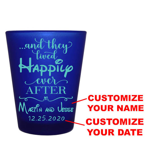 CUSTOMIZABLE - 1.5oz Blue Frosted Shot Glass - Happily Ever After