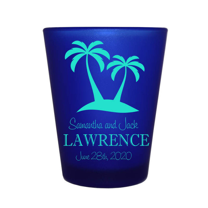 CUSTOMIZABLE - 1.5oz Blue Frosted Shot Glass - Palms