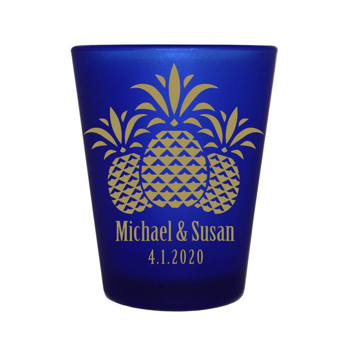 CUSTOMIZABLE - 1.5oz Blue Frosted Shot Glass - Pineapples
