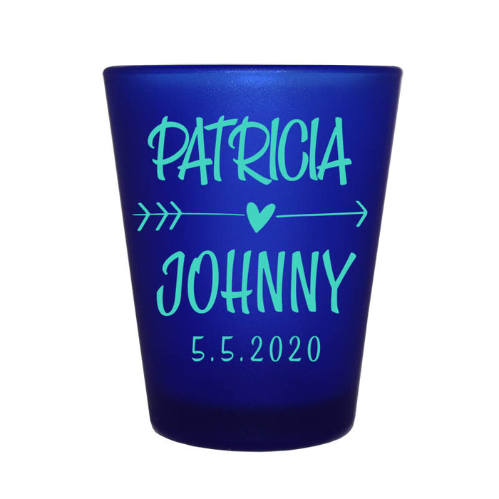 CUSTOMIZABLE - 1.5oz Blue Frosted Shot Glass - Arrow Heart