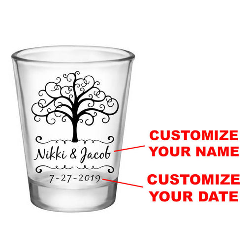 CUSTOMIZABLE - 1.75oz Clear Wedding Shot Glass - Tree Of Life
