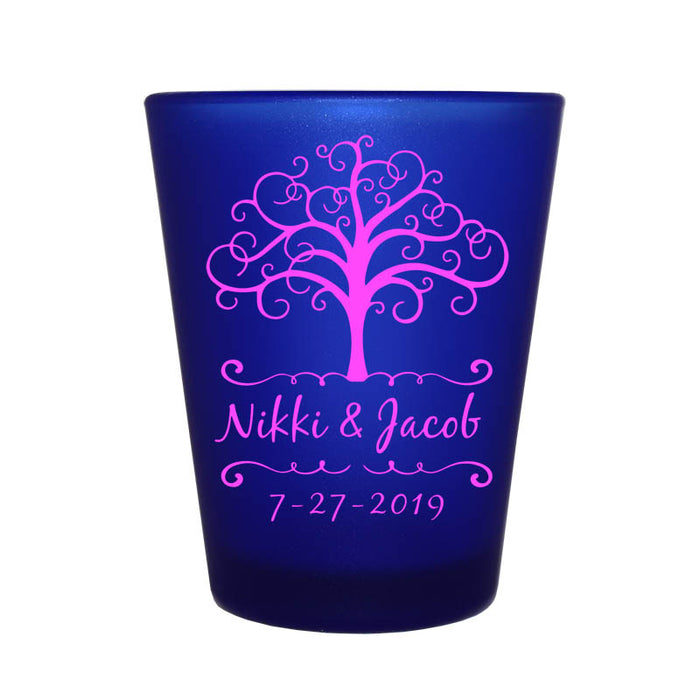 CUSTOMIZABLE - 1.5oz Blue Frosted Shot Glass - Tree of Life