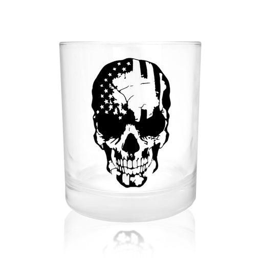 BarConic® Glassware -  Skull American Flag Old Fashioned Whiskey Glass - 10oz