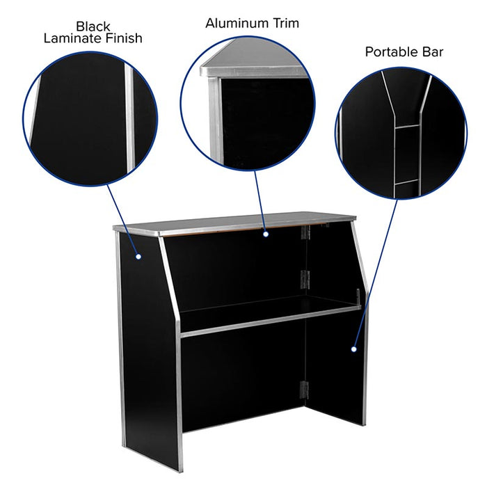 Portable Bar - Black Laminate - 4 FT.