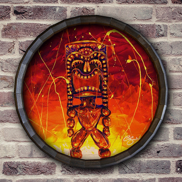 Tiki Hot Lava Wood Barrel Top Sign/Clock