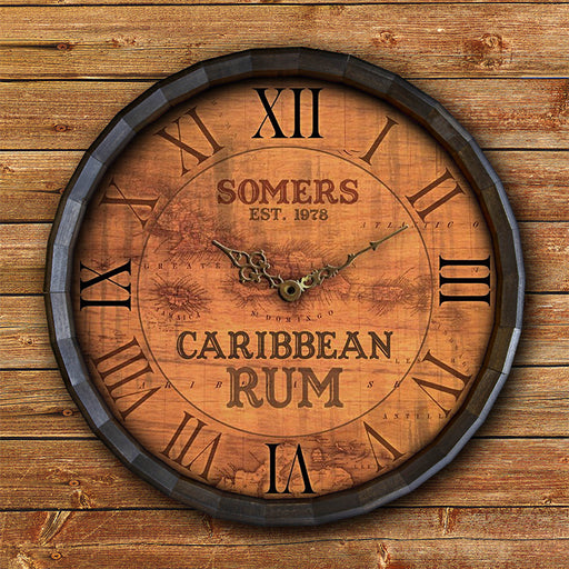 Custom Wood Barrel Top Clock – Caribbean Rum