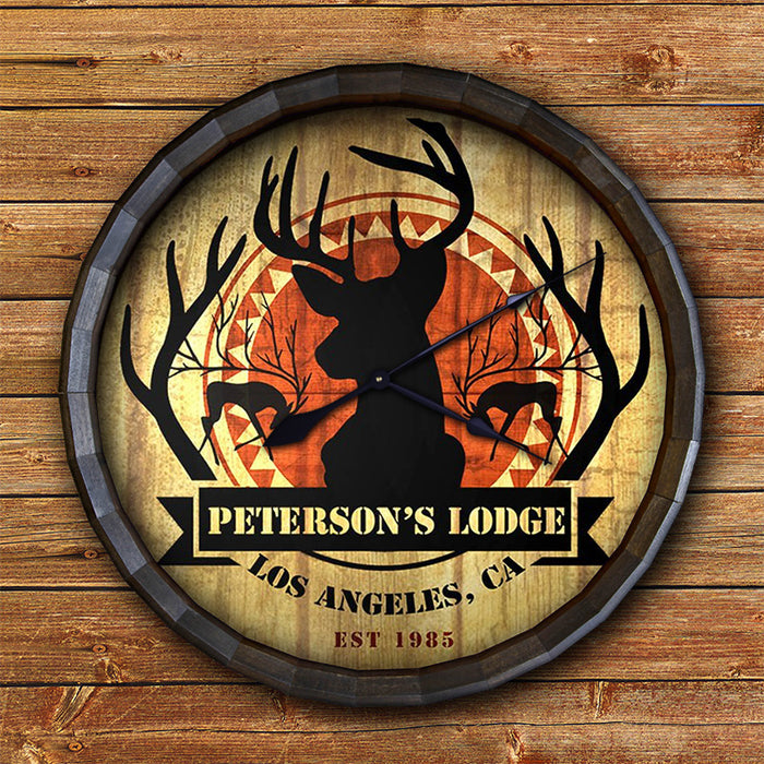 Custom Wood Barrel Top Sign – Deer Lodge