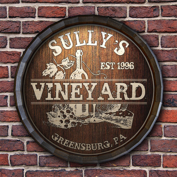 Custom Wood Barrel Top Sign – Vineyard