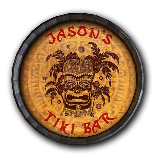 Tiki Bar Barrel Top Tavern Sign