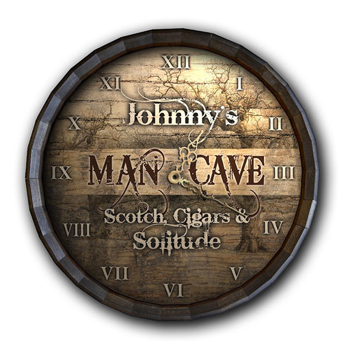 Custom Wood Barrel Top Clock – Man Cave - Scotch, Cigars, Solitude