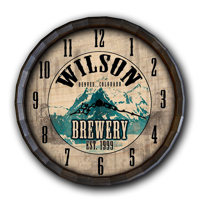 Custom Wood Barrel Top Clock - Brewery
