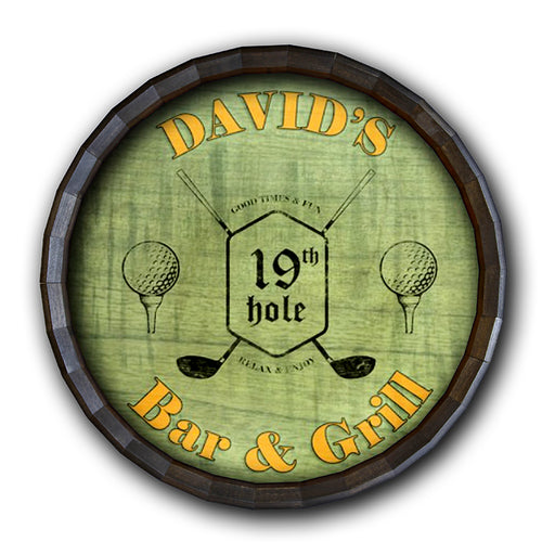 19th Hole- Golf Barrel Top Tavern Sign