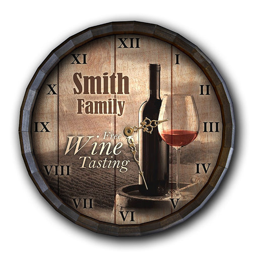 Custom Wood Barrel Top Clock – Free Wine Tasting