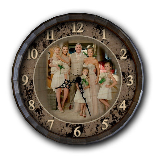 Custom Wood Barrel Top Clock - Family - ADD YOUR OWN PHOTO