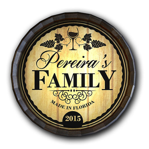 Custom Wood Barrel Top Sign – Family
