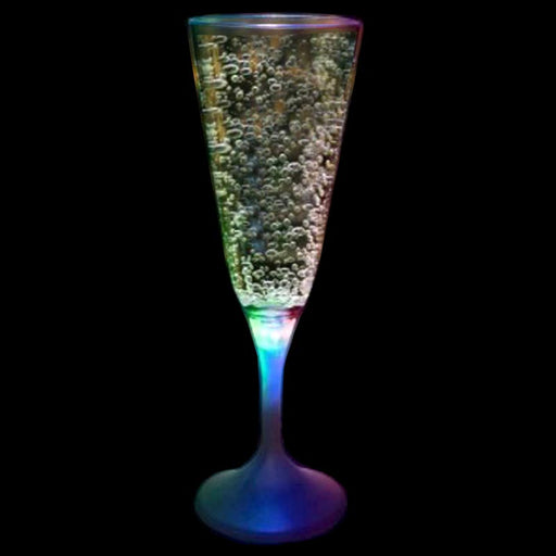 LED Champagne Glass White Stem - 7 oz