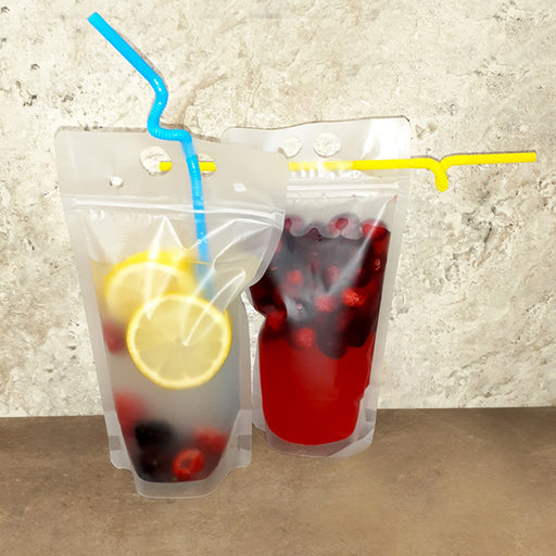 Frosted To Go Drink Pouch w/straw - 17oz