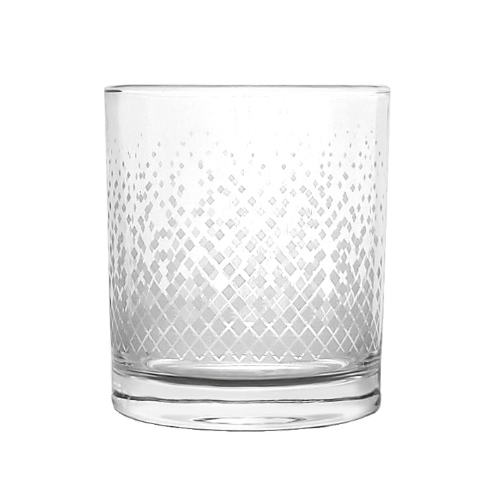 BARCONIC® GLASSWARE - RETRO SILVER DIAMOND OLD FASHIONED GLASS - 10OZ