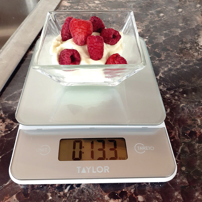 Digital 11lb Glass Top Food Scale - Silver
